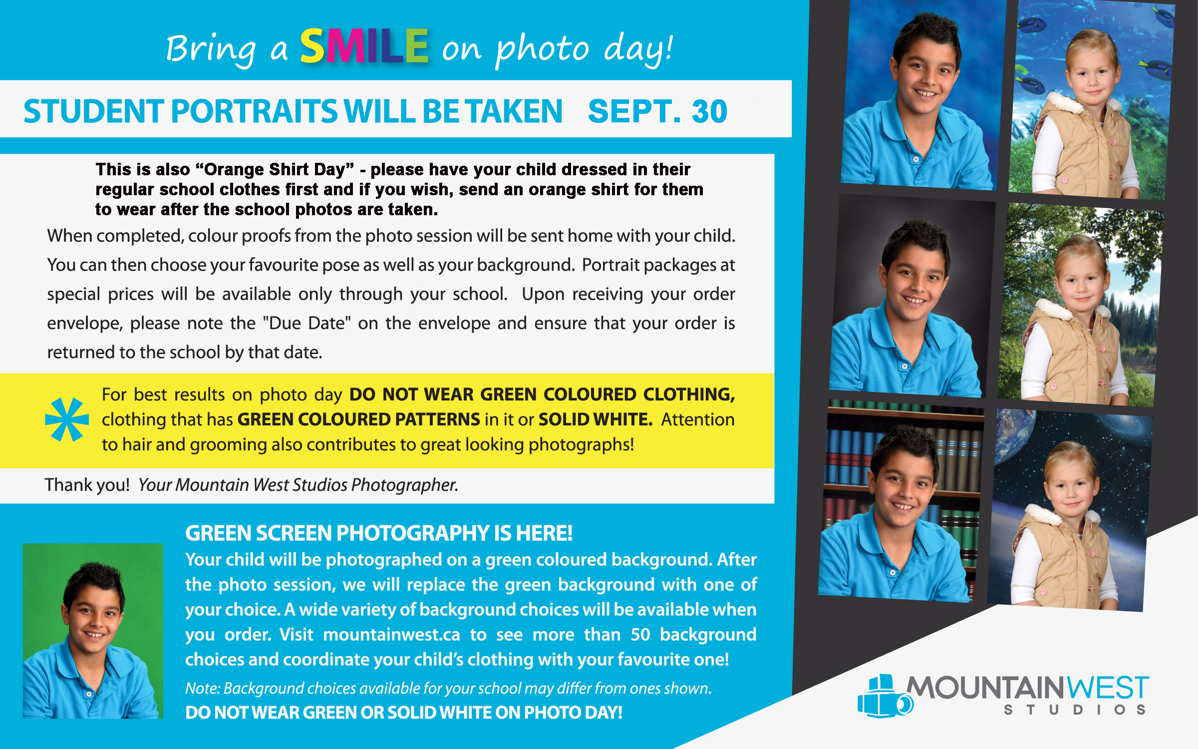 Next Day Notice Green Screen Flyer North Canoe Elementary Fall 2019