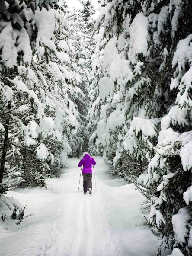 photo of a person hiking in snow